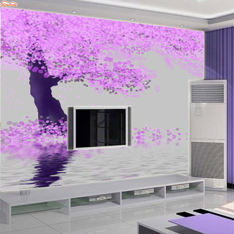 ShineHome-Yoga Spa Rose Tree by River 3d Wallpaper Murals for Walls Roll 3d Wall Paper Rolls Floral Papel Pintado Pared Rollos shinehome skyline sea wave sunset seascape wallpaper rolls for 3d walls wallpapers for 3 d living rooms wall paper murals roll