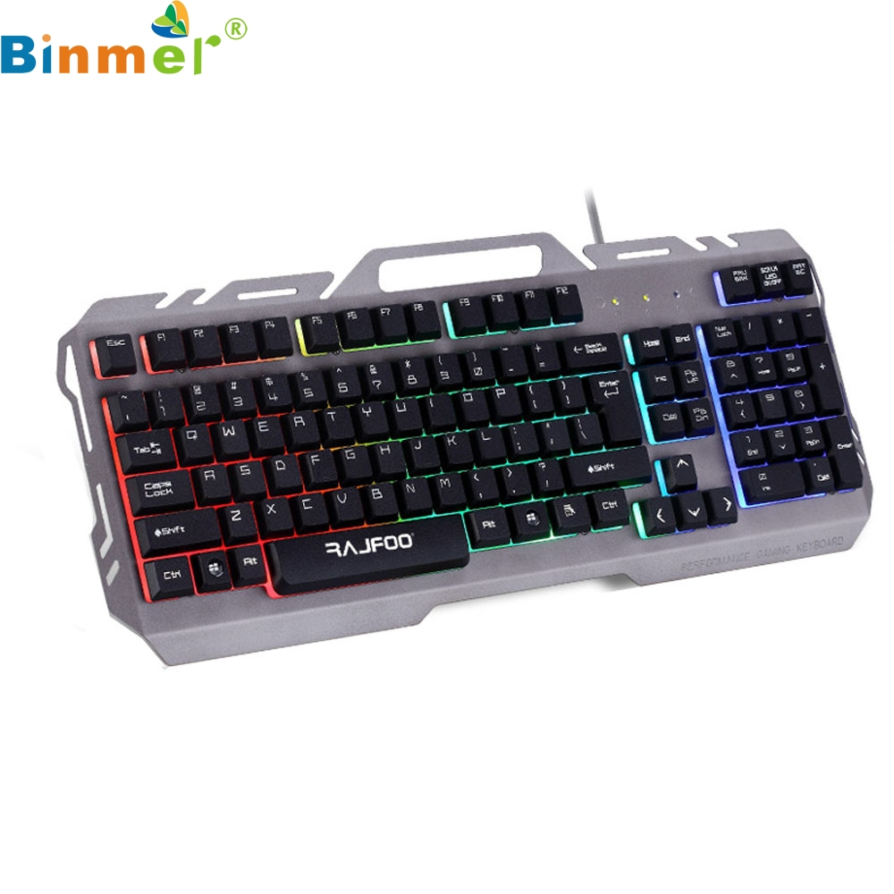 Rajfoo Gaming Keyboard 104 Keys USB Wired Illuminated Colorful LED Backlight Multimedia PC Keyboard ABS material Oct06 rajfoo three backlight colors usb wired gaming keyboard