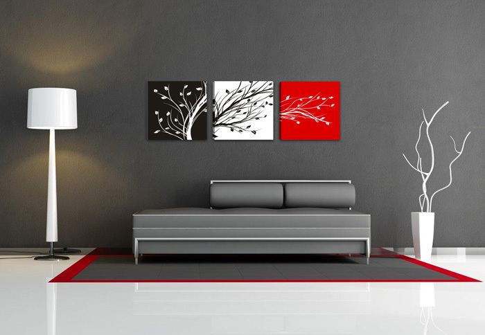 Black white red tree 3 panels set hd canvas print painting artwork wall art picture gift for living room wholesale in painting calligraphy from home
