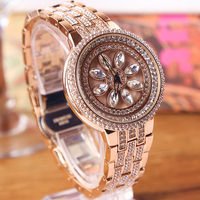 Luxury Gold Color Women Big Diamond Bracelet Watches Luxury Crystal Ladies Dress Watch Luck Steel Watch