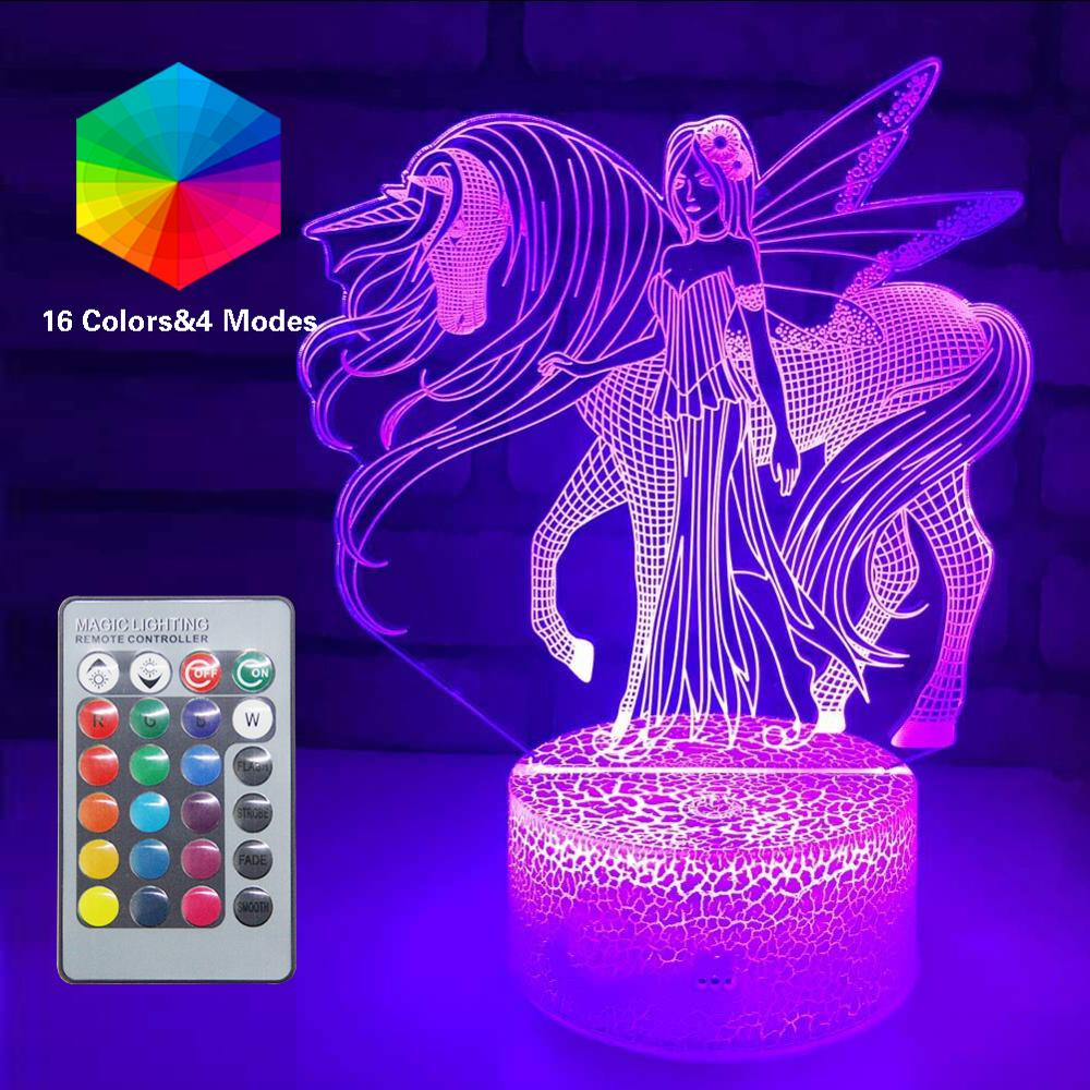 3D Unicorn NightLight LED Optical Illusion Lamps Remote Smart Table Lamp 16 Colors Decor Luminaria Lampara Girls Xmas Party Gift