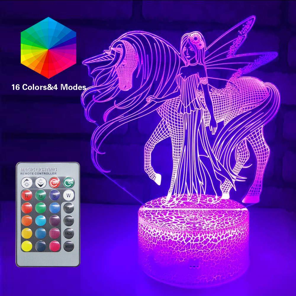 3D licorne veilleuse LED optique Illusion lampes à distance Smart Table lampe 16 couleurs décor Luminaria Lampara filles noël fête cadeau