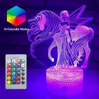 3D unicornio luz nocturna LED luces de ilusión óptica remoto lámpara de mesa inteligente 16 colores decoración Luminaria Lampara niñas regalo de fiesta de navidad