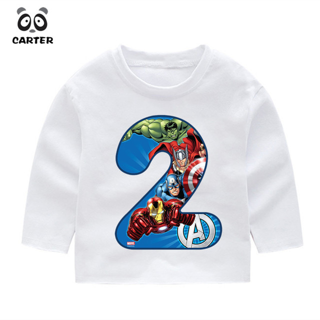 2019 Autumn 2 14 Year OldKids Happy Birthday Avengers Marvel Number 19th Long Sleeve Toddler T Shirts Shirt