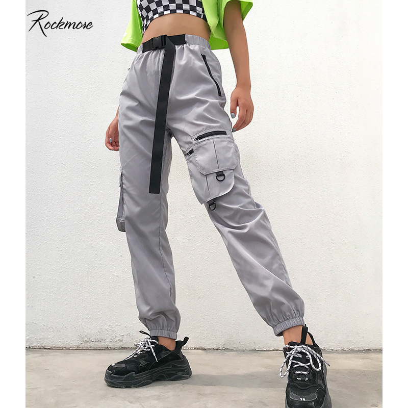 Rockmore Oversized Korea   Pants   Women Zipper Pocket High Waist Streetwear Loose Hip Pop Trouser   Wide     Leg     Pant   Femme Autumn Winter