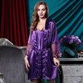 Мода Sexy Женщины Ночная Рубашка Ночь Платье Установить Дамы Спать Носить Халат Кружева Шелковой Ночной Рубашке Женщина Ночная рубашка Костюм Фиолетовый