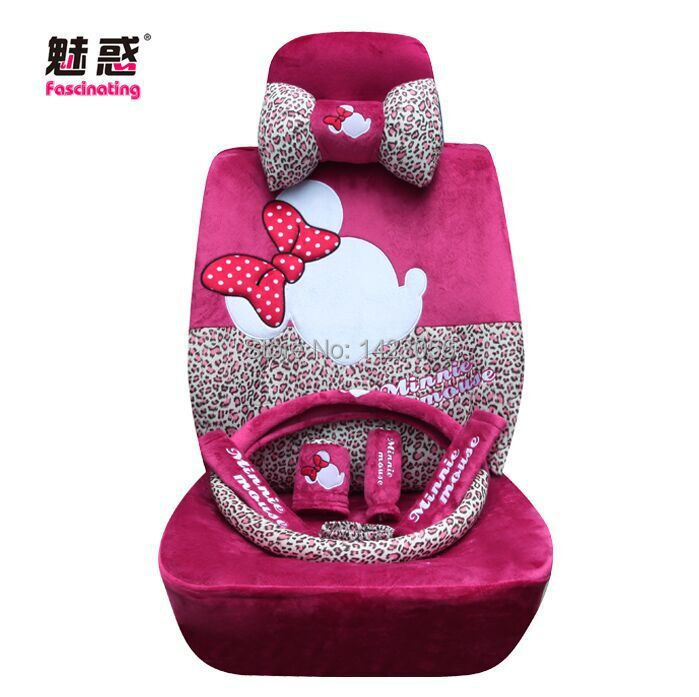 Pink Cotton Mickey Minnie Mouse Car Seat Covers Accessories For Most 5 Interior Shoulder Pad Steering Wheel Cover In Automobiles From