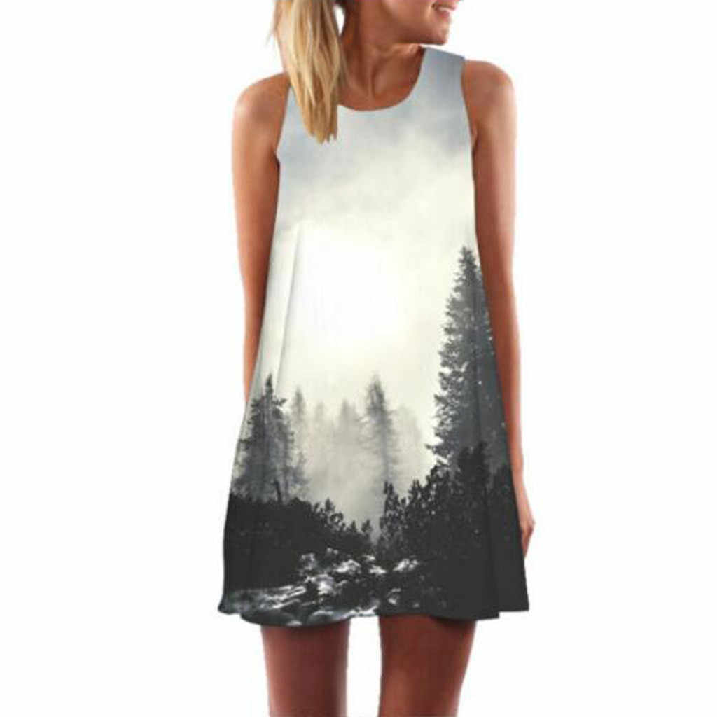 FREE OSTRICH Dress Women Charming Nature Pattern In Foggy Forest Above Knee Mini Small Fresh Fashion Women Dress Summer 2019