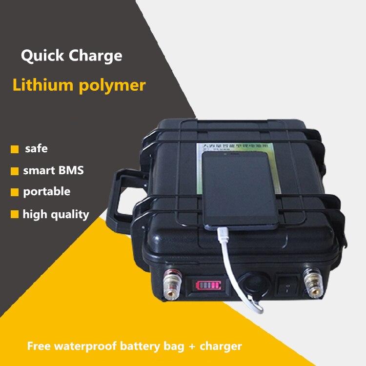 High power 12V 60AH-200AH INR dynamic li-polymer lipo USB Batteries For boat motor/solar energy panel Emergency Power source