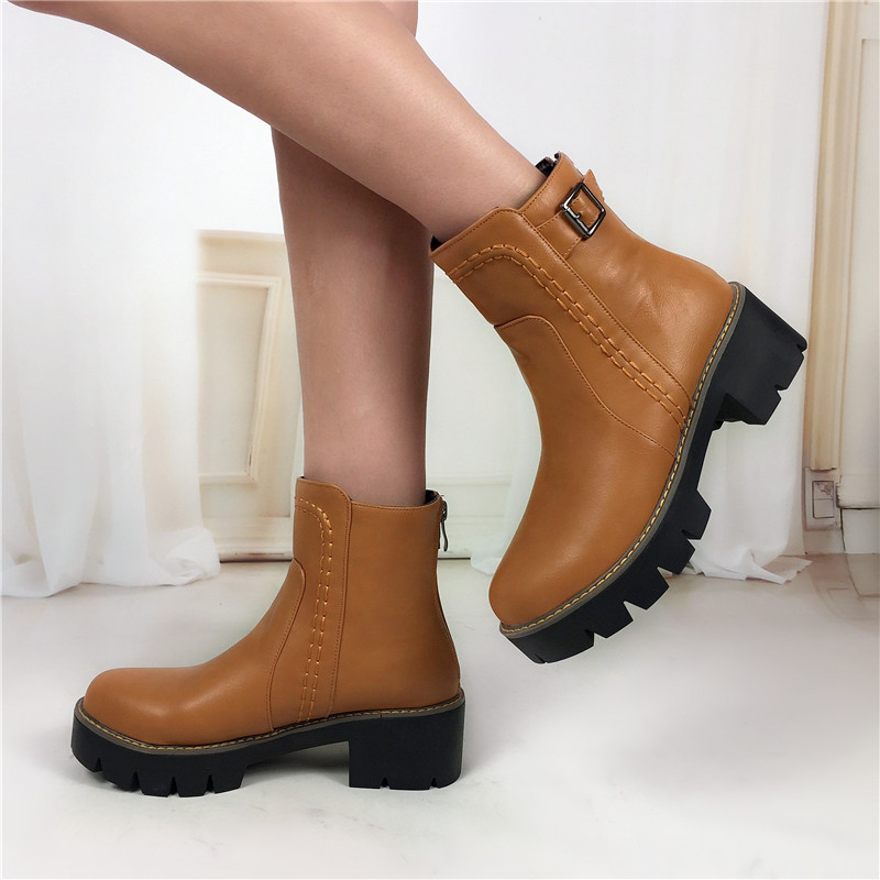 New 2018 fashion autumn winter Vintage Buckle ankle boots Casual black Martin Boots Platforms Motorcycle Boots Plus size 34 43 in Ankle Boots from Shoes