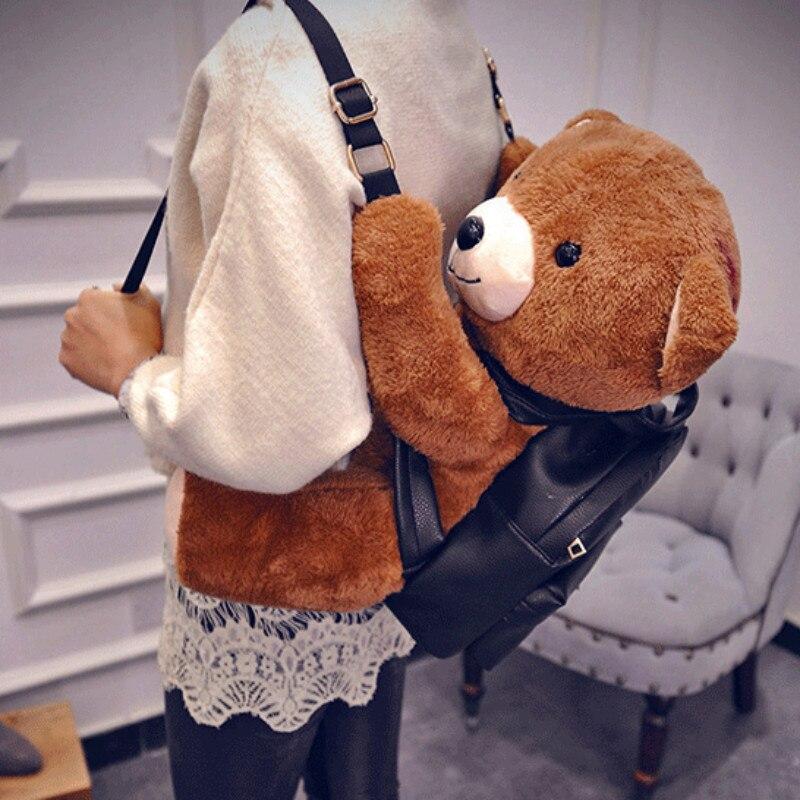 ФОТО Women 3D Bear Backpack Plush Cute Animal Plush Toy Stuffed Shoulder Bags Black Zipper Students Girls Kids Cool Charmings Fashion