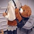 Women 3D Bear Backpack Plush Cute Animal Plush Toy Stuffed Shoulder Bags Black Zipper Students Girls Kids Cool Charmings Fashion