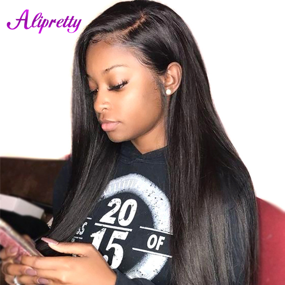Alipretty Straight Brazilian Hair Lace Front Wigs Pre Plucked Human Hair 13x4 Lace Wigs With Baby