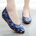 Embroidery Shoes Chinese Old BeiJing Ethnic Red wedding canvas soft cloth dance shoe single shoes for women cheongsam 34-40