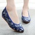 Sapatos bordados Étnica Chinesa Velha Pequim lona pano macio sapato de dança de casamento Vermelho único sapatos para as mulheres cheongsam 34-40