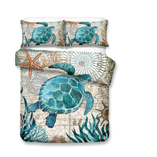 Three Dimensional Sea Turtle Printed Duvet Cover Sets Marine Style Luxury Bed Linen USA Twin Queen King Size Bedding