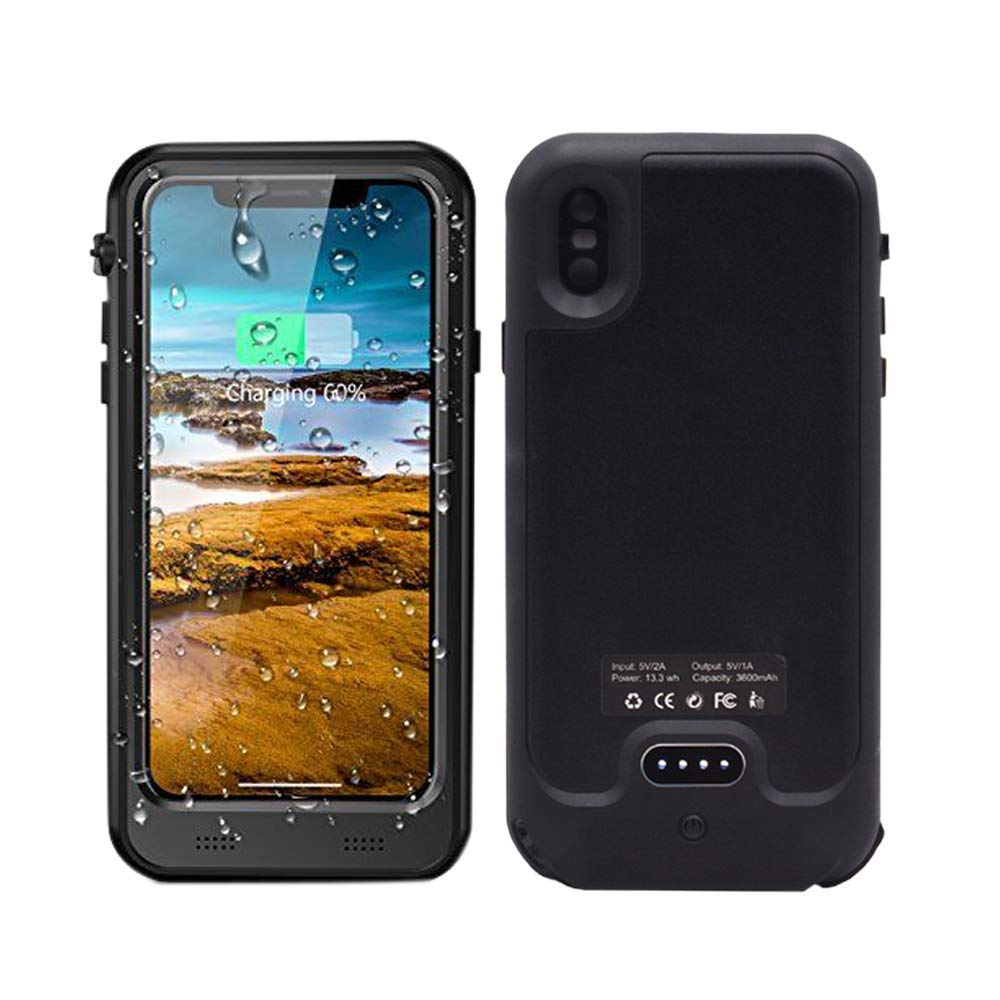 3600mAh Power Bank Waterproof Case Pack Backup Battery Case Charging Waterproof Protection 3 in 1 Cover for iPhone X/iPhone XS