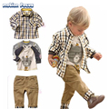 New 2017 Spring Autumn Children's Clothing Sets Baby Boy Suit Long Sleeve Plaid Shirts+Cartoon Printing T-shirt+pants 3pcs Set