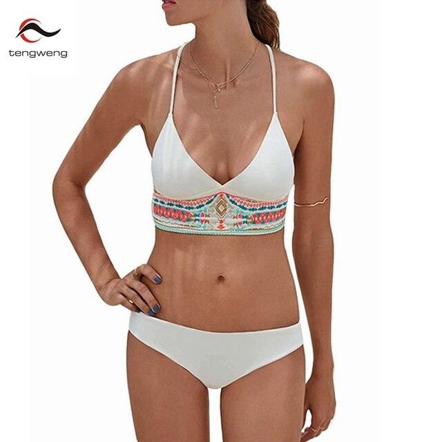 eec486fda9b6a Tengweng 2018 New Sexy Black Print Women Swimsuit Retro Push up Bikini  Halter Large Size Swimwear Female Bathing suit Cheap