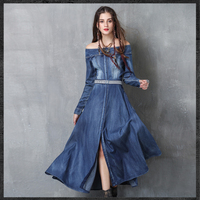 2017 S L Women Denim Dress Women's Clothing Denim Jeans Dress Off Shoulder Front Slit Maxi Vestido de Festa Vintage Sexy Wear