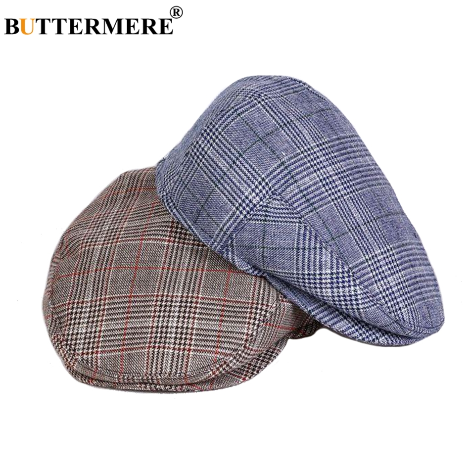 BUTTERMERE Classic Flat Cap Men Wool Khaki Beret Male Plaid Retro Cabbie Hat British Tartan Autumn Casual Directors Cap Ivy Blue(China)