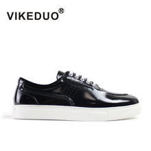 Vikeduo 2019 Hot Handmade Flat Male Leisure Shoes Original Designer Fashion Black Skateboard Genuine Leather Mens Casual
