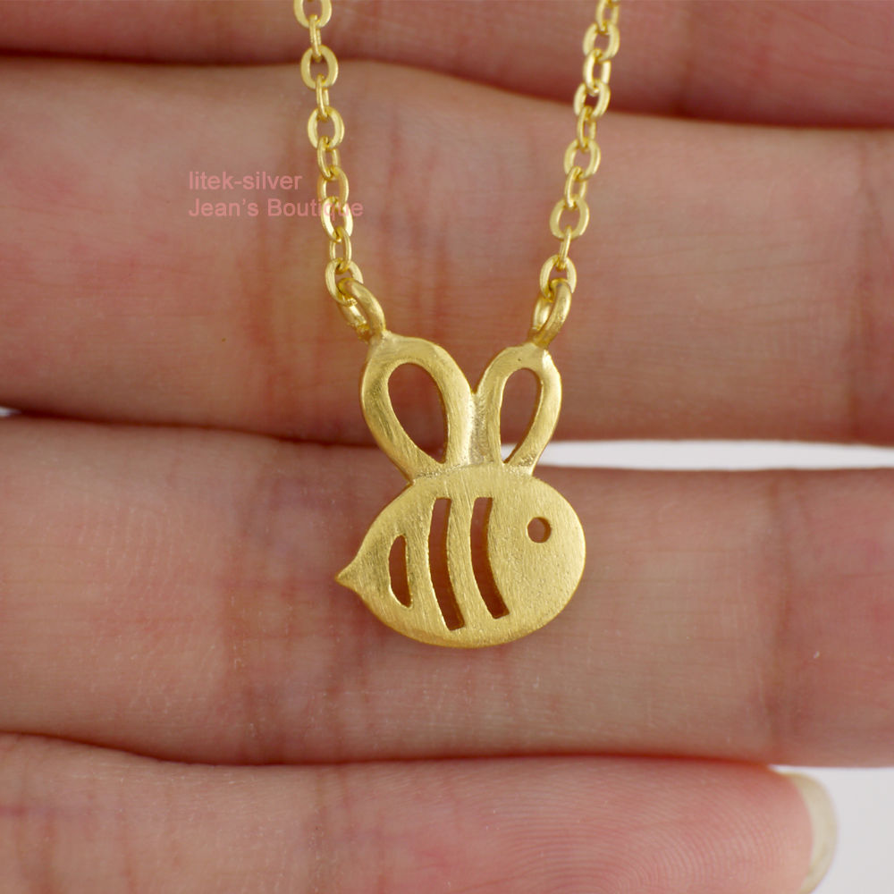 Sterling silver cute golden honey bee pendant charm chain necklace sterling silver cute golden honey bee pendant charm chain necklace a2222 in chain necklaces from jewelry accessories on aliexpress alibaba group aloadofball Images