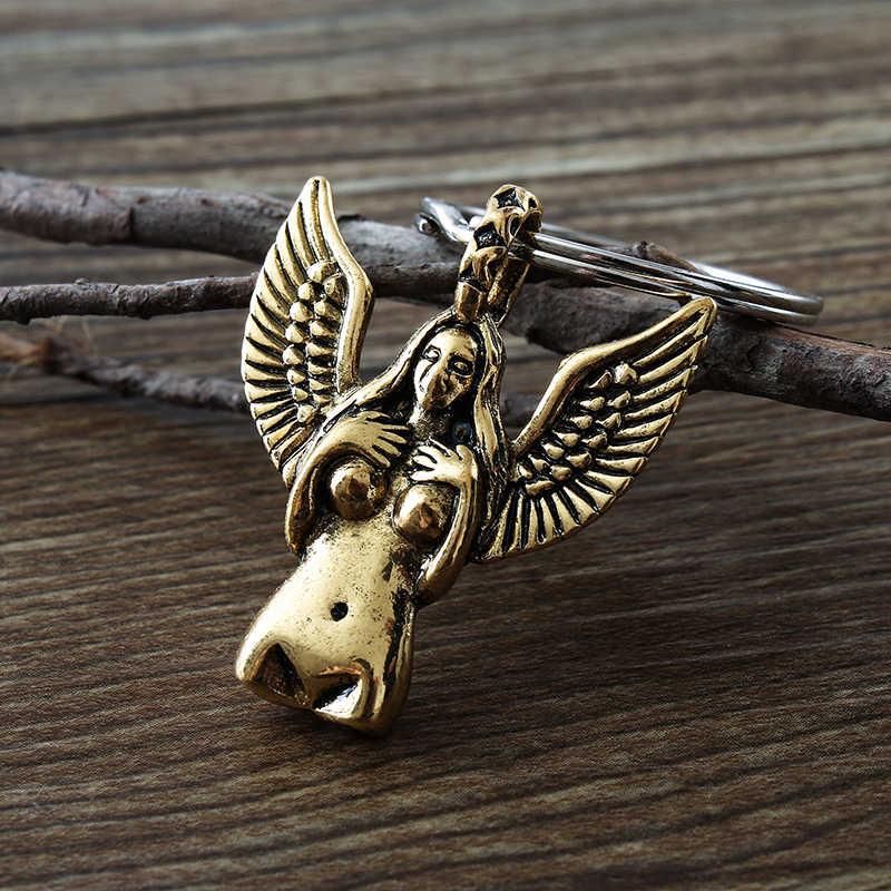 Baru Body art nude perempuan gantungan kunci antik patung liberty perak malaikat sayap liontin kunci.