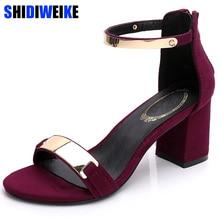 Sandalet kadın 2019 yaz kare tıknaz topuklu kırmızı siyah toka ayak bileği kayışı yüksek blok topuk burnu açık parti sandalet kadın pompa