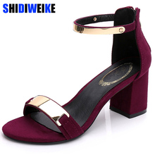 Sandals women 2019 summer square chunky heels red black Buckle ankle strap  high Block heel open 39c8948c0795