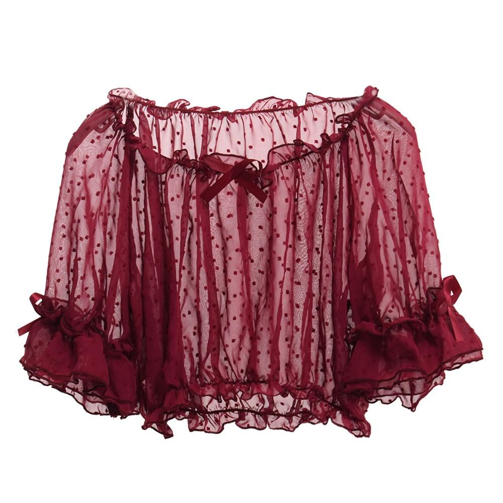 Mesh Lolita Shirt Women Summer Dot Blouses Transparent Elegant See-through Ladies Tops 1