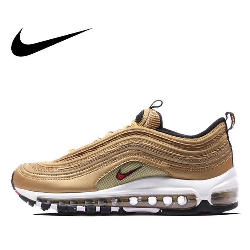 Original Authentic Nike Air Max 97 OG Gold and Silver Bullet Women's Running Shoes Sport Outdoor Sneakers Massage Jogging
