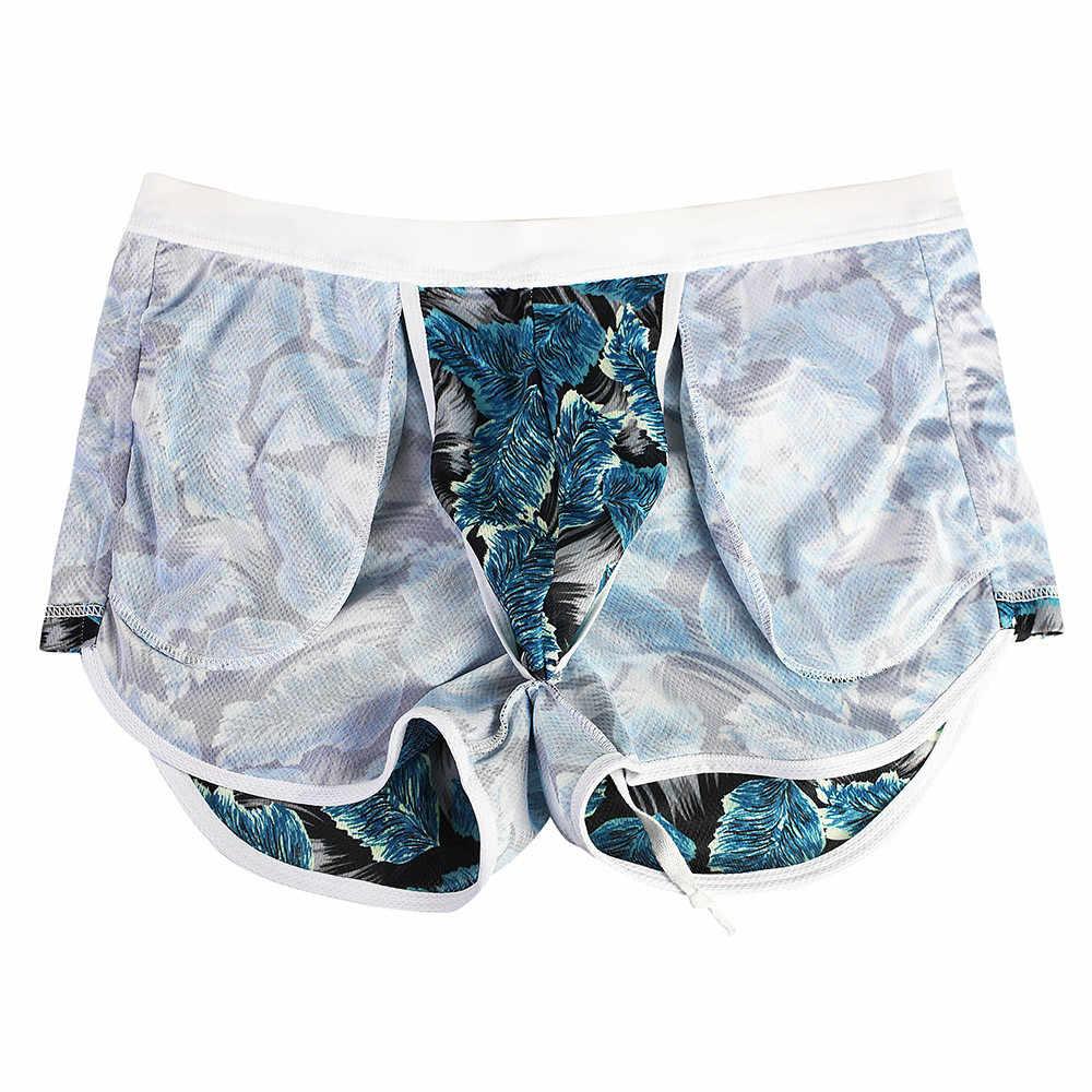Strap Mannen Mannelijke Badmode Boxer Shorts Badpak Trunks Zwemmen Taille Print Beach Wear Slips Badpak Beachwear