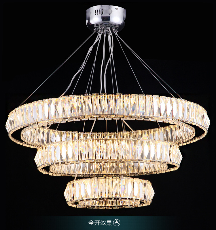 modern luxurious K9 crystal 3 rings 81W light adjustable led pendant light for living room shop restaurant 1067 modern fashion luxurious rectangle k9 crystal led e14 e12 6 heads pendant light for living room dining room bar deco 2239