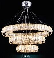 modern luxurious K9 crystal 3 rings 81W light adjustable led pendant light for living room shop restaurant 1067