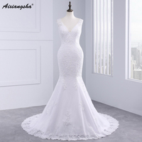 Robe De Mariage Applique Long Mermaid Wedding Dress 2016 Cap Sleeve V Neck Lace Bridal Dresses