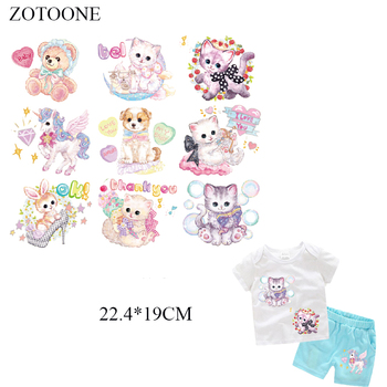 ZOTOONE 9Pcs Cute Cat Unicorn Patch For Body iron on transfers for clothing T-shirt DIY Grade-A Thermal transfer stickers D1 image