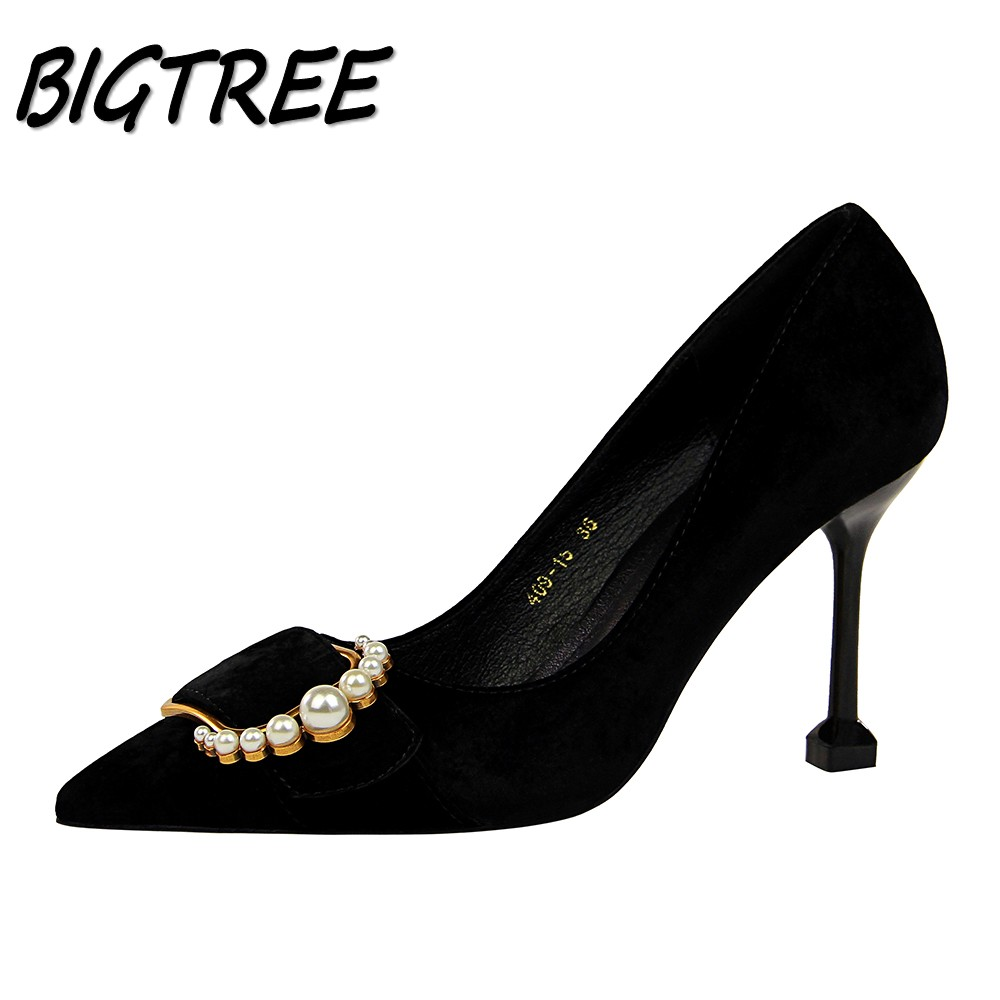 BIGTREE Women Pointed Toe High heels Shoes Woman Pumps Ladies Fashion  Wedding Party Dress sexy OL Metal pearl Buckle Stilettos new spring summer women pumps fashion pointed toe high heels shoes woman party wedding ladies shoes leopard pu leather