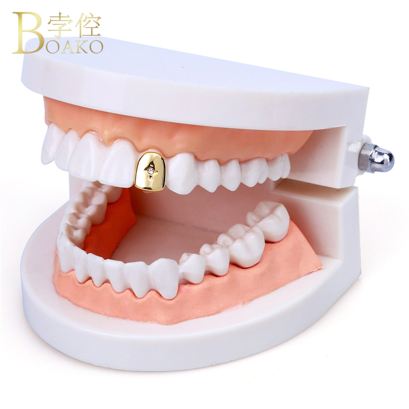 BOAKO Rose Gold Teeth grillz Hip Hop Rapper Gold Teeth Grills Dental Punk Teeth grillz Caps Punk Tooth Jewelry Party Gift Z5 in Body Jewelry from Jewelry Accessories
