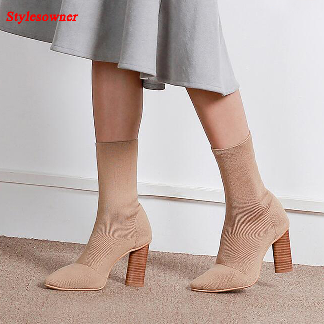 Stylesowner Fashion Knit Sock Boots Chunky High Heels Stretch Boots Spring Fall Boots Sexy Ladies Woman Pointed Toe Pumps Shoes fashion kardashian ankle elastic sock boots chunky high heels stretch women autumn sexy booties pointed toe women pumps botas