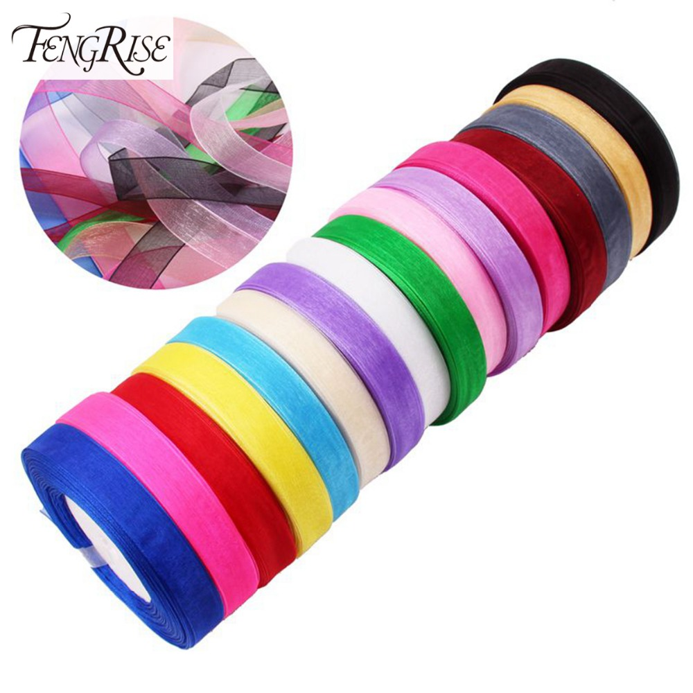 FENGRISE 15mm 45 Meters Organza Ribbon Wedding Decoration Scrapbooking Gift Craft DIY Bow Kids Marriage Event Party Supplies
