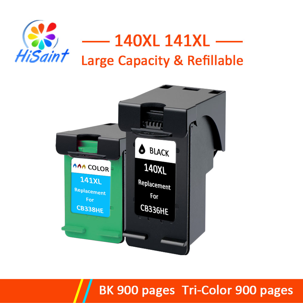 Hisaint Refilled Ink Cartridge 140XL 141XL Replacement for <font><b>HP</b></font> <font><b>140</b></font> <font><b>141</b></font> for Officejet J5783 J6413 Deskjet D4263 D4363 image