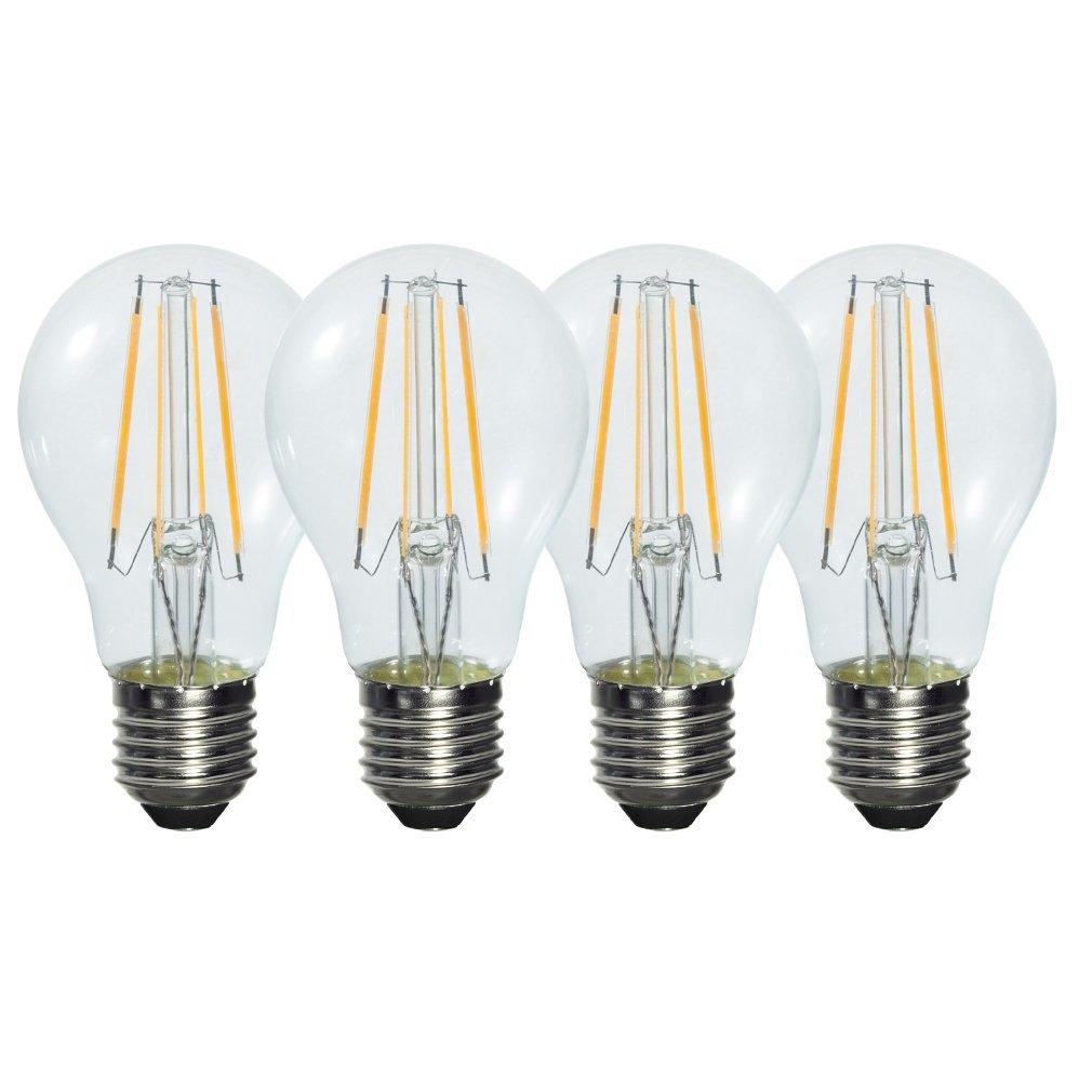 Pack of 4 Retro Style 6W E27 Warm White Clear Glass LED Light Filament Bulb (580LM 2800K ,Replacing 50W Incandescent Lamp) 5pcs e27 led bulb 2w 4w 6w vintage cold white warm white edison lamp g45 led filament decorative bulb ac 220v 240v