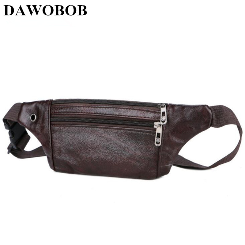 Waist Bag Men Zipper Waist Fanny Packs Belt Bag Women Leather Chest Handbag Black Brown Color 2018 New Fashion High Quality