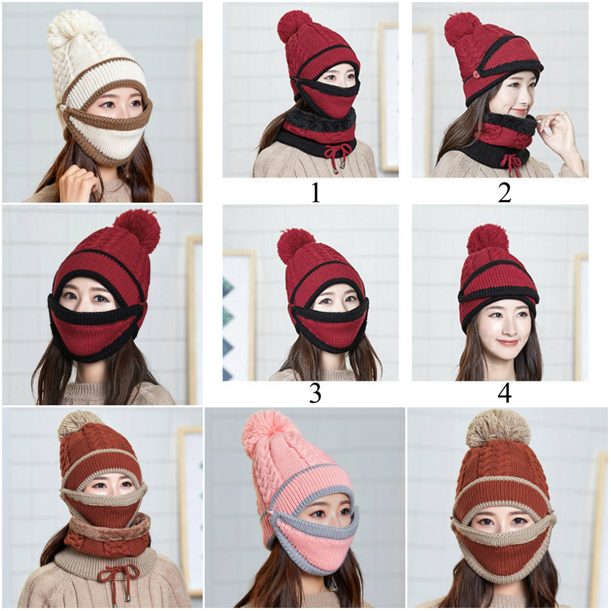 Winter Knitted Beanies With Warm Mask Women And Neck Scarf Thickened Hat Driver Windstop Sets For Women