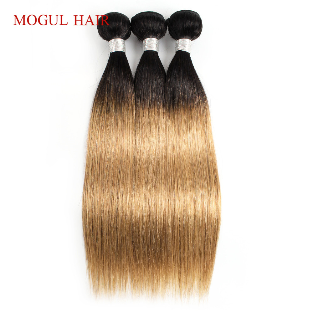 MOGUL HAIR Indian Straight Hair T 1B 27 Ombre Honey Blonde Bundles Weave 3 4 Bundles