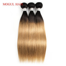 MOGUL HAIR Indian Straight Hair T 1B 27 Ombre Honey Blonde Bundles Weave 3/4 Bundles Remy Human Hair Extension 10-24 inch