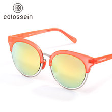 COLOSSEIN Retro Round Fashion Cat Eye Sunglasses Women Sexy Cat eye Colorful Frame Adult Polarized New Trendy Luxury Glasses