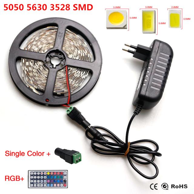 IP20 RGB Luz de Tira del LED 5630 3528 5050 SMD De Fita llevó Tiras de Cuerda + 44 Teclas Del Controlador Remoto + UE/EE.UU. Plug 12 V 2A adaptador