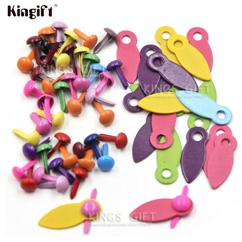 Mixed Color Scrapbook Locks Rotating Buttons DIY Brads Embellishment Free Shipping